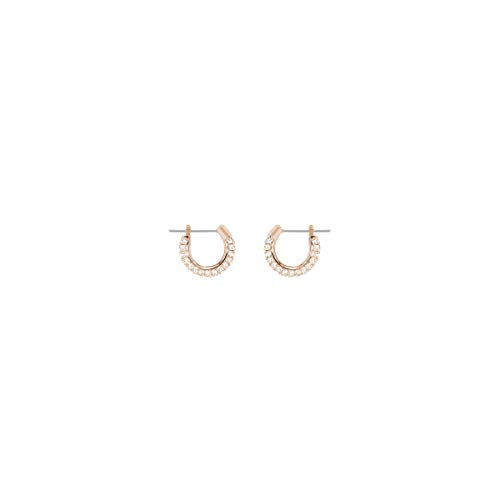 Swarovski Stone Hoop Pierced Earrings for Women, Set of Brilliant White Crystal Swarovski Hoop Earrings with Rose-Gold Tone Plated Metal