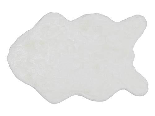 Schöner Wohnen Kollektion Kunstfell Teppich Tender – hochflor Shaggy Matte – Modellart Shape – luxuriöser Fellteppich – Vorleger mit Fellimitat – (weiß, 60 x 90 cm)