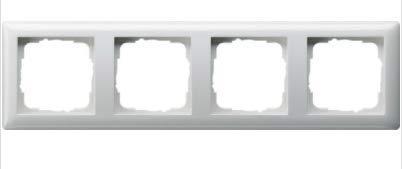 GIRA System 55 Standard E2, Reinweiß glänzend, Steckdose Schalter Rahmen Wippe (021403 Rahmen 4-fach, 1 Stück)