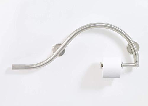 Lifeline Bathroom Grab Bar with Toilet Paper Holder - Luna Design | Left Hand | Brushed Nickel