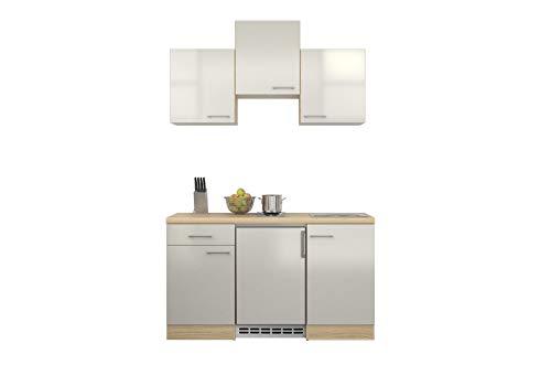 MMR Singleküche DERRY - Küche mit E-Geräten - 2er Elektro-Kochfeld - 9-teilig - Breite 150 cm - Perlmutt Weiß