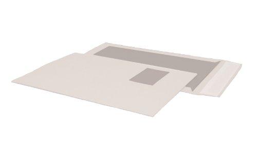 Papprückwandtasche C4 (324x229mm) mit Fenster haftklebend weiß 120g  100 Stück