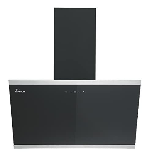 KKT KOLBE/Kopffreie Wandhaube/Dunstabzugshaube / 80cm / Edelstahl/schwarzes Glas/Nachlaufautomatik/SensorTouch Bedienung / LUNA8109S
