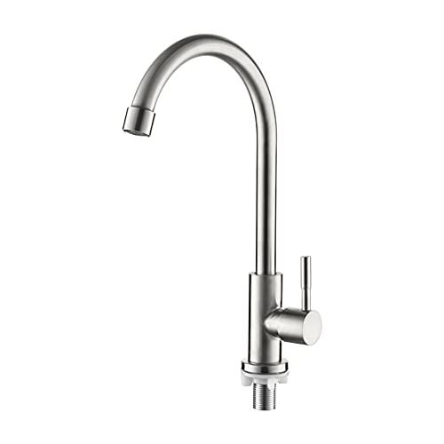 Ibergrif M18703 Mundo - Grifo de Cocina Giratorio 360°, Solo Agua Fria, Grifo para Fregadero Monomando, Inoxidable