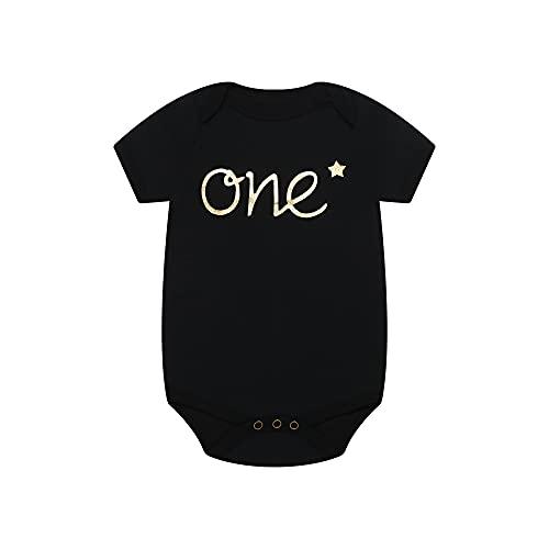 Unisex Infant Baby Boys Girls Organic cotton Onesie Bodysuit for First Birthday Gift Gold Glitter Baby Birthday Onesie (One-BSS, 12-18months)