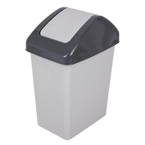 BranQ - Home essential Cubo de basura Swing de 25 l con tapa basculante en color gris, universal, sin BPA, plástico PP, 24 x 39 x 50 cm (largo x ancho x alto), 25 litros