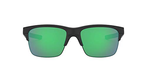 Oakley Men's OO9316 Thinlink Sunglasses, Matte Black/Jade Iridium, 63 mm