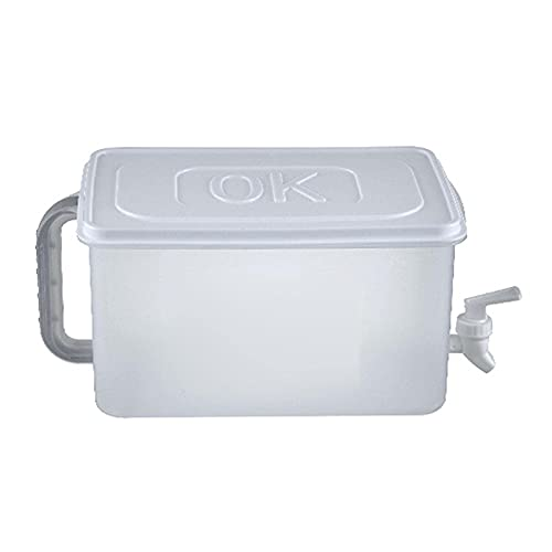 WHkeji Refrigerador Hervidor Frío Con Grifo Hogar Hervidor Botella de Limonada Cubo de Agua Fría Tetera Frutas Tetera con Grifo Material Seguro de Grado Alimentario (Blanco)