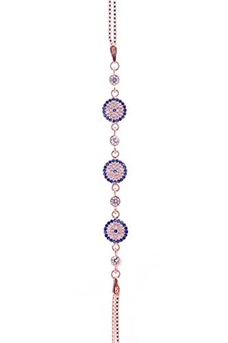 Pulsera de plata de ley 925 bañada en oro rosa con perlas de ojo malvado