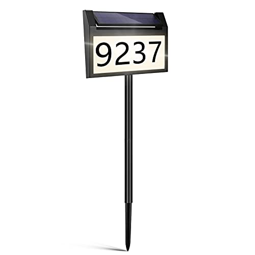 LIANYIPASS Address Sign, Solar House Numbers for Outside Modern Plaque Waterproof House Number Sign Lighted Up for Yard Driveway Street with Stakes
