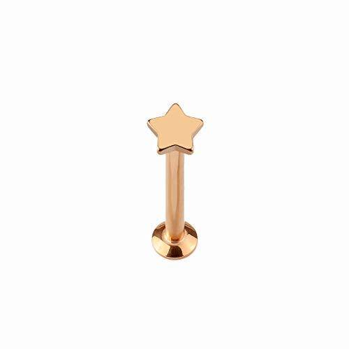 Tata Gisèle Piercing Labret Monroe av kirurgisk stål – rund skaft av titan med toppstjärna och platt botten – fyra färger och tre längder att välja mellan e titan, colore: Roséguld, cod. 3701181795248