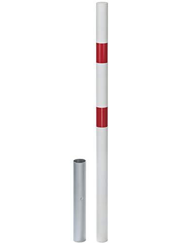 GAH-Alberts 782139 Absperrpfosten Stabo, ohne Ösen, 2refl.R, weiß, herausnehmbar, zum Einbetonieren, Ø60/1000