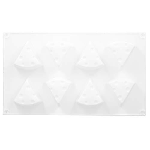 Fdit Moule à Gateau à 8 cavités, moules de Cuisson en Silicone Moule à Gateau Triangulaire, Ensemble de moules à Gateau en Silicone Bricolage, pour Outil de Cuisson de Cuisine (Blanc)