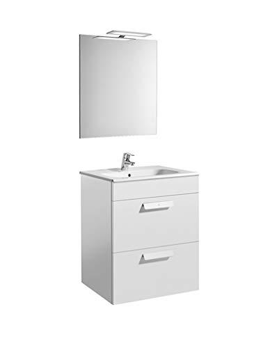 Roca A855984806 – Debba (mueble+lavabo+espejo+aplique LED) 600mm Blanco Brillo
