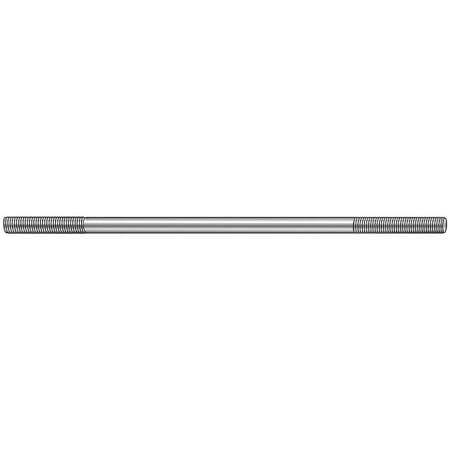 "#10-32 x 6"" Zinc Plated Steel Double End Threaded Stud"