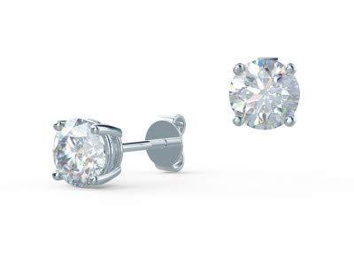 Orecchini a perno rotondi da 18 K, colore bianco solido, per donne e ragazze, regalo da 1,00 ct, taglio rotondo, con diamanti solitari veri