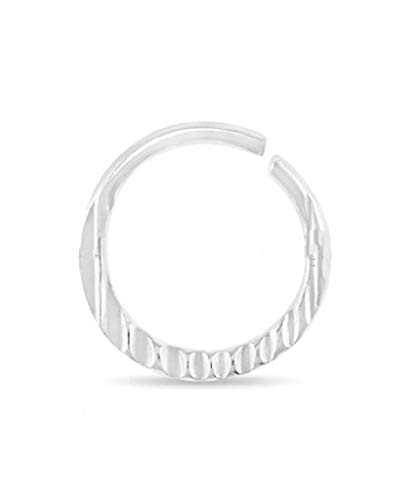 Urbiana Unisex 925 Sterling Silver Hammered Nose Ring for Septum, Cartilage, Tragus and Nose Ring