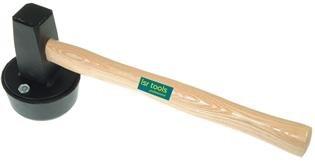 Plattenlegerhammer rund 1.500 g, mit auswechselbarem Gummiaufsatz