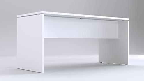 TIME Scrivania per Ufficio o casa Bianca | Larghezza 160 cm | profondità 65 cm | Altezza 74 cm