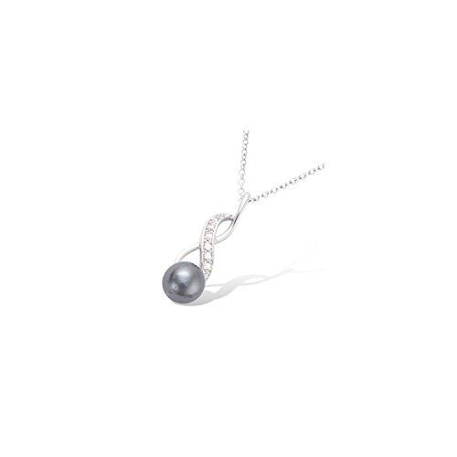 Mary Jane–Ciondolo Argento Donna–Larg: 7mm/Alto: 22mm–Argento 925/000rhodié-perle-perle di acqua douce-zirconium (infinito/perla)