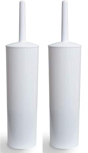 Klickpick Home Pack of 2 Compact Deep Cleaning Toilet Bowl Brush and Holder Caddy Set for Bathroom Storage and Organization Space Saving Sturdy Covered Brush -White