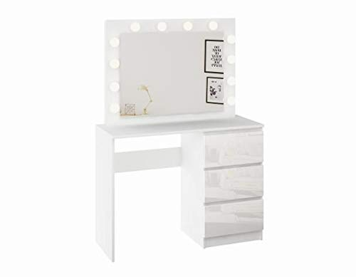 Izer Schminktisch Spiegel LED-Beleuchtung Kosmetiktisch Schubladen 3 Weiß Hochglanz