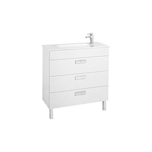 Lavabo + Mueble base 3 cajones Unik Debba Roca, 80 x 36 x 72 centímetros, color blanco (Referencia: A851281806)