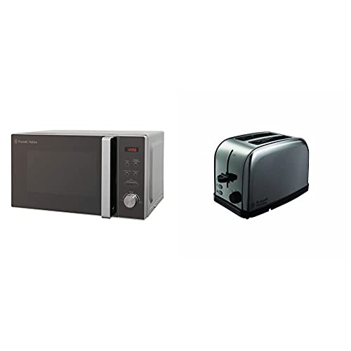 Russell Hobbs RHM2076S Compact Microwave, 800 W, 20 liters, Silver & Futura 2-Slice Toaster 18780 - Stainless Steel Silver