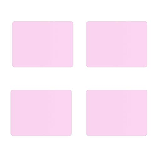 LEASEN Childrens Place Mats, Heat Resistant, Non-Slip, Waterproof, Easy to Clean, Eco-Friendly Silicone Placemats, Used for Dining Table Kitchen, Pink, Set of 4