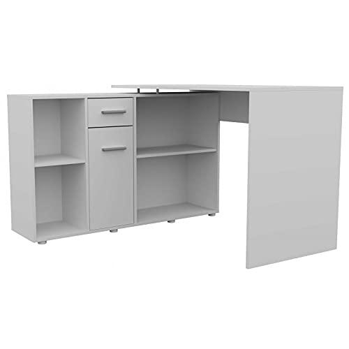 ADGO Diegos Escritorio modular para ordenador con 4 estantes, 1 armario, 1 cajón, mesa de oficina con espacio de almacenamiento, escritorio para trabajo, oficina(envío en 2 paquetes) color blanco mate