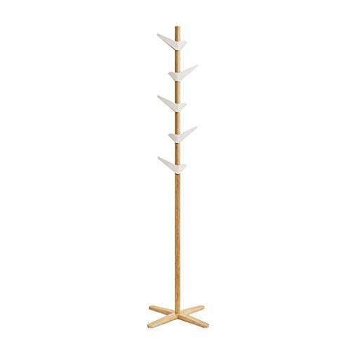 Perchero Escudo Simple Moderna de bambú Estante de la Capa de Madera sólida del Soporte Dormitorio Living Room Escudo Bastidor Soporte 5 ASB Ganchos Pueden 360 Rotación Perchero de