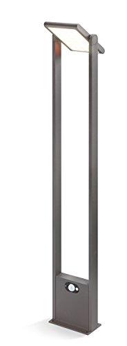 Moderne Solar Sensor Wegeleuchte Triest Lichtfarbe warmweiß 3000K, 2 Watt Solarmodul, 150 lm Lichtstrom, Sommer- und Wintermodus, hochwertige Aluminiumausführung, Standleuchte Garten 102907