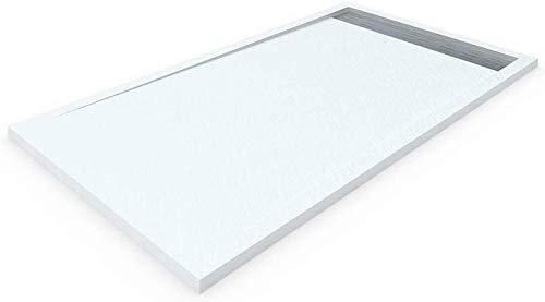 DUCHA.ES Receveur de douche en résine avec cadre latéral, Texture ardoise, valve incluse 90X100 Cm Blanc
