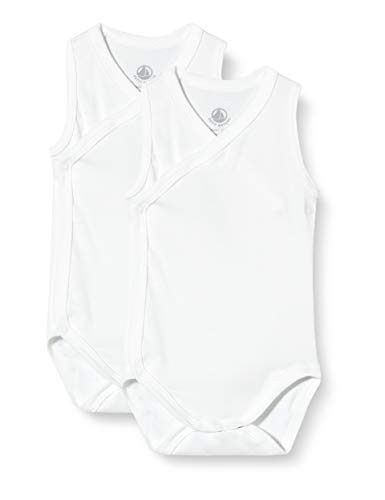 Petit Bateau Unisex Baby 2 Bodies Naiss Sm Varian3m Baby- und Kleinkind-Unterwäscheset, Weiß weiß, 3 Monate