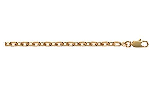 Ascalido ketting, echt goud, 18 K, voor heren, 55 cm, 3 mm, schakelketting, 10 jaar, met kistje