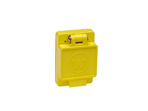 Woodhead 69W76 Watertite Wet Location Locking Blade Receptacle, 3-Phase, Single Flip Lid, Female, 4 Wires, 3 Poles, NEMA L16-30 Configuration, Yellow, 30A Current, 480V Voltage