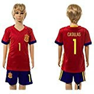 2016 2017 Super Popular Spain 1 Iker Casillas Home For Children Kid Youth Football Soccer Jersey Sets In Red by DQUKJS