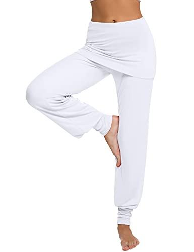 Sykooria Pantalones De Yoga Mujer Pantalones Harem Pantalones Hippies Pantalones con Falda para Mujer Pantalones Deportivos de Algodón Pantalon Harem de Anchos Cintura Alta Pilates Baile Fitness