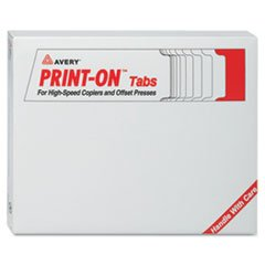 AVE20406 Print-On Tabs,3-HP,Double Reverse Collated,30 ST/BX,White
