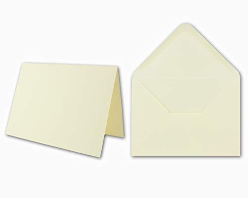 Dubbele kaarten inclusief enveloppen met geschenkdoos sets blanco natuurlijk wit uitnodigingskaarten in crème-wit - Gustav NEUSER C-Line 25 Stück crème