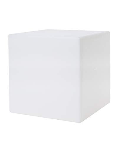 8 seasons design | Dekowürfel beleuchtet Shining Cube (E27, 43 cm groß, Indoor & Outdoor, UV-, regen- und frostfest, Gartenleuchte, Lichtwürfel, Würfelhocker, Deko Gartenparty) weiß