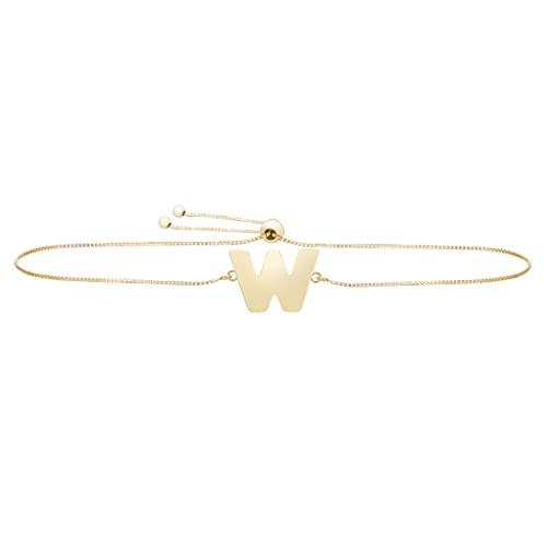 Pulsera de oro amarillo pulido de 14 quilates con nombre de letra personalizable con monograma inicial con cierre de cuerda para regalo para mujer – 23 centímetros
