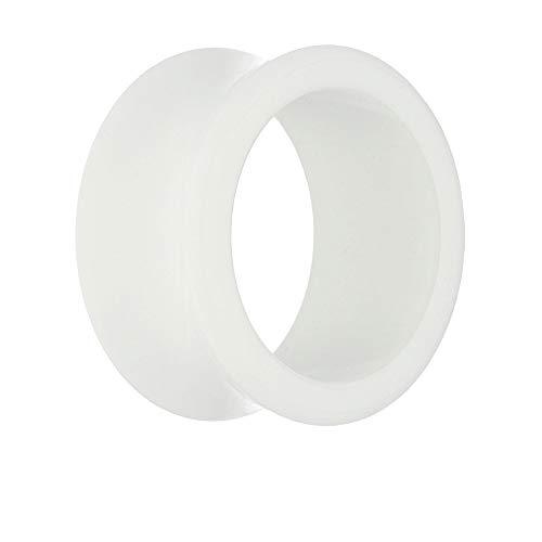 Treuheld® | 10mm Ohr Flesh Tunnel aus Kunststoff/Acryl | Weiß | Glatt & Glänzend | Double Flared Ohrtunnel | hautfreundlich & antiallergen