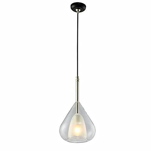 N\C Lámpara de araña de Cristal de Doble Capa, lámpara Colgante Interior Ajustable, lámpara de suspensión Colgante con portalámparas E27 Luminaria para cafetería, Bar,...
