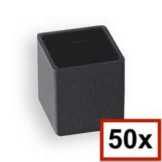 5 Stck Quadratstopfen 10x10 mm Grau Kunststoff Endkappen Verschlusskappen