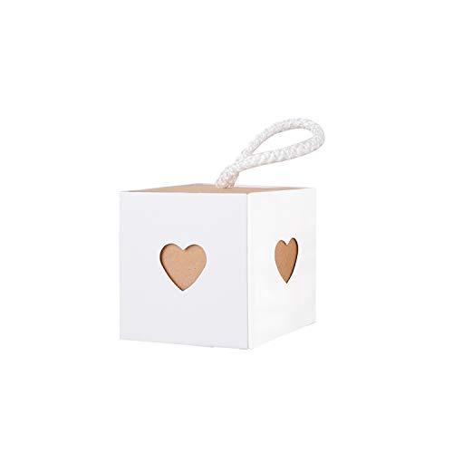 Wolfteeth 50 pz Scatole Bomboniere Portaconfetti Carta per Regalo Matrimonio Battesimo Festa Comunione con 50 pz Corde Bianco