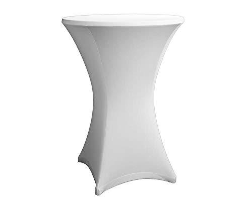 Original eXpand® Stehtischhusse – Stretchhusse, Tischhusse Überzug für Stehtische oder Bristotische, Exklusive Profi-Qualität mit 210g/m² - (Ø 70-75 cm, Weiß)