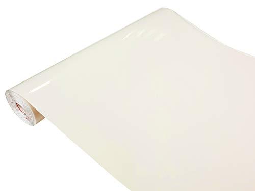 DecoMeister Klebefolien Deko-Folien Selbstklebefolie Möbelfolie Selbstklebend Einfarbig Einheitliche Farbe 45x100 cm Magnolie Glanz