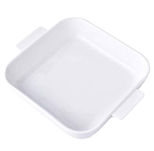 SMSOM Plato para hornear porcelana, plato de cazuela Juego de embarques rectangulares, sartenes de cerámica de las lasaña Conjunto de 2 para cocinar, cena de pastel, cocina, banquete y uso diario, bla