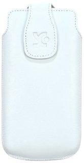 Suncase - Custodia Originale in Vera Pelle con Chiusura Magnetica per Sony Xperia Miro, Bianco